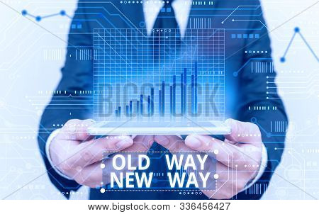 Text sign showing Old Way New Way. Conceptual photo The different way to fulfill the desired purposes. stock photo