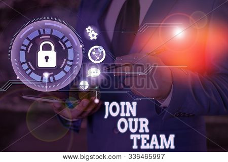 Writing note showing Join Our Team. Business photo showcasing Allied Associate Work with us New Employee Hired Enlist. stock photo