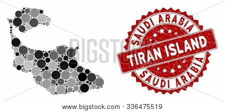 Mosaic Tiran Island map and round watermark. Flat vector Tiran Island map mosaic of randomized round items. Red watermark with rubber design. Designed for political and patriotic proclamations. stock photo