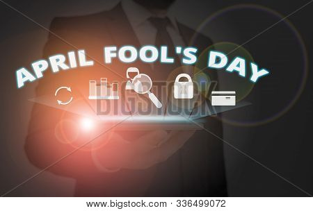 Writing note showing April Fool S Day. Business photo showcasing Practical jokes humor pranks Celebration funny foolish. stock photo