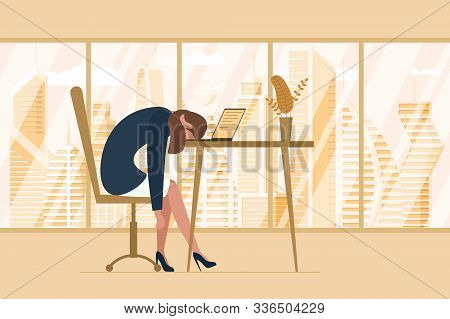 Professional burnout syndrome. Exhausted tired female manager in office sad boring sitting head down on laptop. Frustrated worker mental health problems. Vector long work stress day illustration stock photo