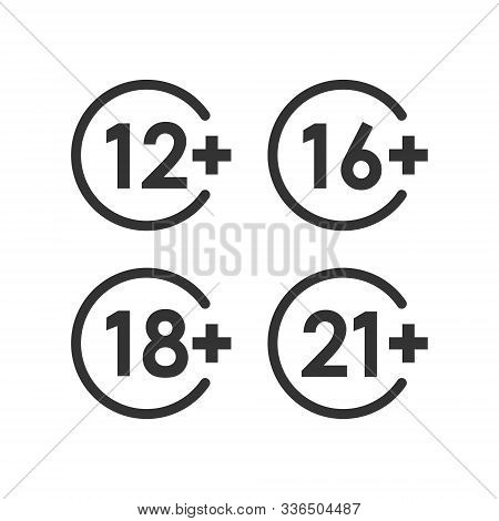 12, 16, 18, 21 plus icon in flat style. Censorship vector illustration on white isolated background. Censored business concept. stock photo