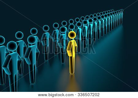 Looking At Colorful Pawns. Selection and search for a top employee or client. 3D rendering stock photo