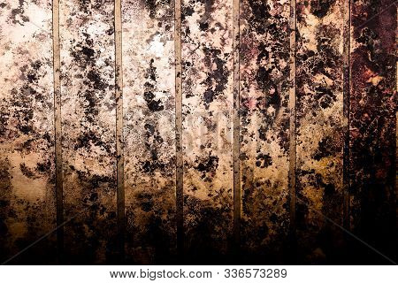 Black spots of toxic mold and fungus bacteria on a wall. Concept of condensation, damp, water infiltration, high humidity and respiratory problems. stock photo