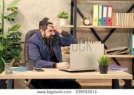 business conflict. Oh no. Businessman in formal outfit. Confident man use laptop and smartphone. Boss workplace. Bearded man in business officedeal conflict. problem and conflict. conflict of interest stock photo