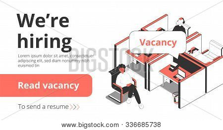 Staffing recruitment agency employment vacancies hiring service isometric landing page banner with job seeker interview vector illustration stock photo