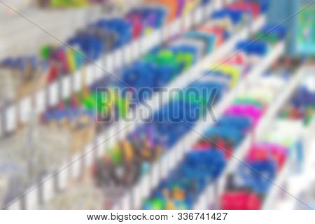 Blurred abstract image of a counter with pens and pencils stock photo