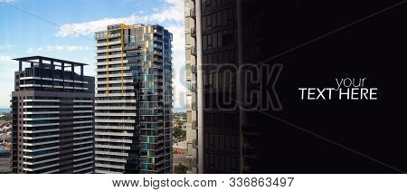 Apartment building close up with the copy space stock photo