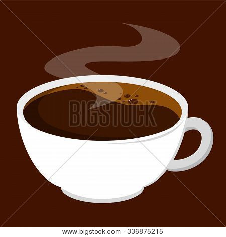 A cup of hot americano coffee vector isolated. Tasty beverage in white mug. Aroma drink made of coffee bean. Black morning caffeine drink. stock photo