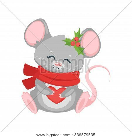 New year mouse with scarf. Chinese zodiac animal with holly berries. Cute christmas symbol cartoon character isolated on white background. Festive smiling mousy with knitted accessory holding heart stock photo