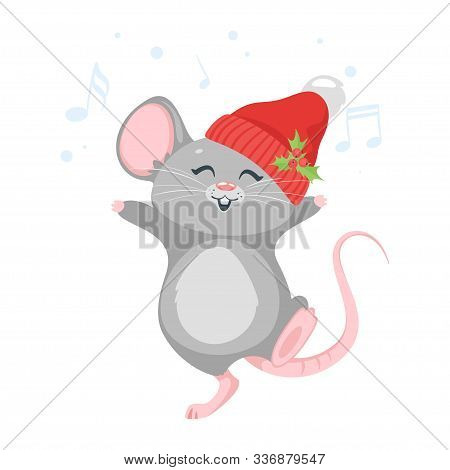 Happy mouse dancing in hat. Cute little animal in winter clothes listening music isolated on white background. New year 2020 mousy character. Chinese zodiac symbol flat vector illustration stock photo