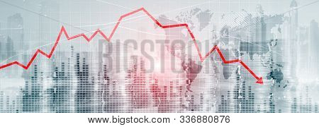 Chart with red down arrow on abstract background. Falling growth in business stock photo