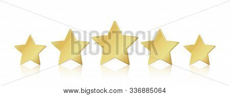Five gold stars. 5 star rating realistic leadership symbol. Glossy yellow metallic winner champion rating. Vector illustration stars restaurant or hotels satisfaction quality service stock photo