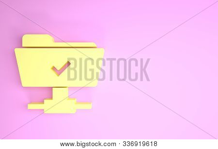 Yellow FTP operation successful icon isolated on pink background. Software update, transfer protocol, teamwork tool management, copy process. Minimalism concept. 3d illustration 3D render stock photo