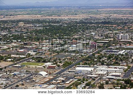 Aerial view of downtown Mesa Arizona looking northwest stock photo
