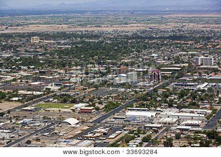 Aerial view of downtown Mesa Arizona looking northwest stock photo