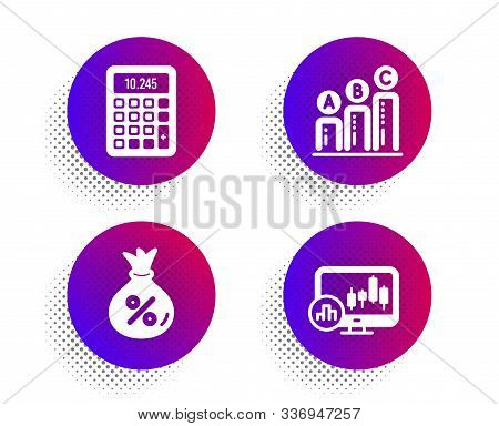 Loan, Graph chart and Calculator icons simple set. Halftone dots button. Candlestick chart sign. Money bag, Growth report, Accounting device. Report analysis. Finance set. Vector stock photo