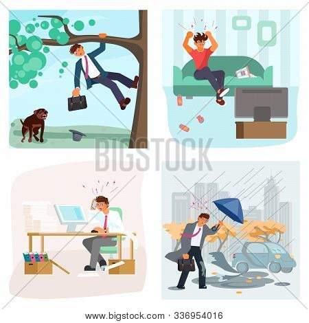 Set of bad luck and stressful situations. Male character experiences stress in everyday life. Trouble at work, dog attack, bad weather, football team lost. Flat Art Vector illustration stock photo