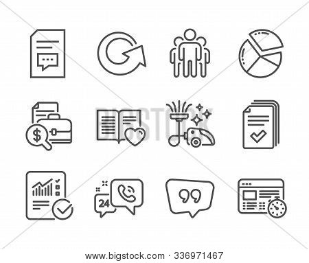 Set of Technology icons, such as Quote bubble, Checked calculation, Love book, Comments, Reload, Pie chart, Group, 24h service, Accounting report, Web timer, Handout, Vacuum cleaner. Vector stock photo