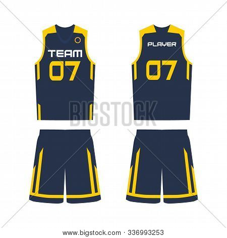 Basketball jersey, shorts, template for basketball club. Front and back view sport uniform. stock photo