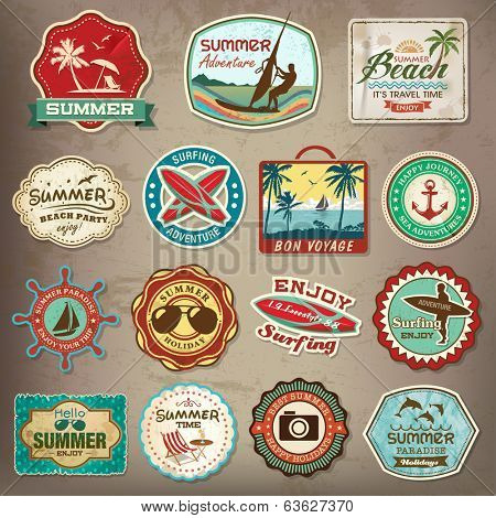 Collection of vintage retro grunge summer marks, names, identifications and symbols