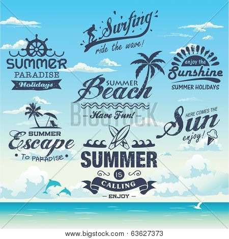 Collection of vintage retro grunge summer names, marks, identifications and symbols
