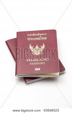 Close up thailand passport isolate on white background stock photo