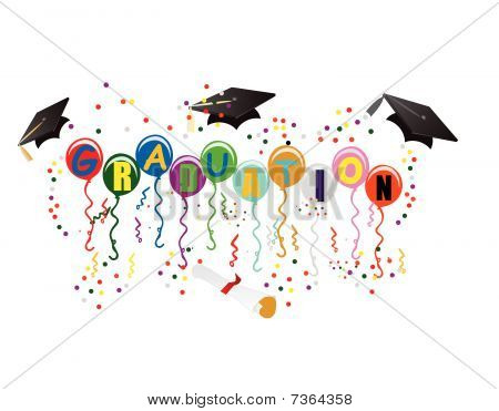 Balloons with Graduation on them, with mortarboard, diploma, streamers and confetti, to celebrate your great day! stock photo