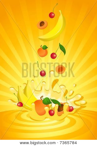 Tasty yoghurt with tropical fruit for a design stock photo