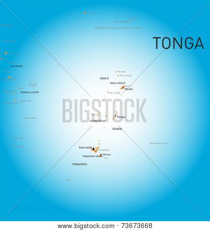 Vector color map of Tonga stock photo