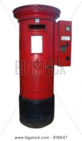 A British, Royal Mail postbox, from the Georgian era, with a stamp machine. Clipping path included. Space for text on the white panel at the front of the box. stock photo