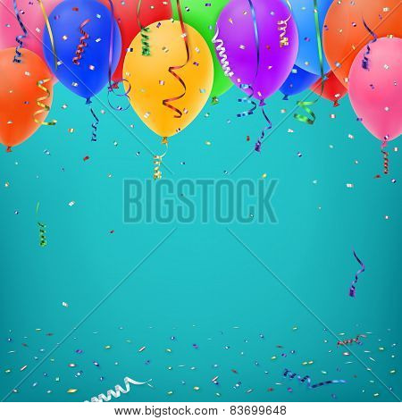 Celebration background template with konfetti, colorful ribbons and balloons. Vector illustration stock photo