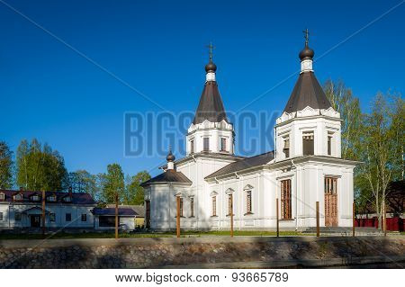 White orthodox church with two towers landscape. Russia. stock photo