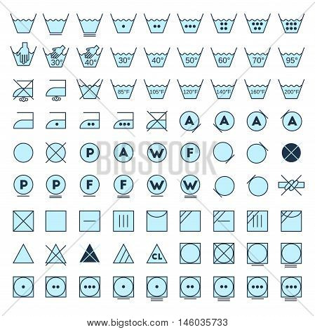 Laundry symbols line design. Washing ironing bleaching drying dry clean and tumble dry icons. stock photo