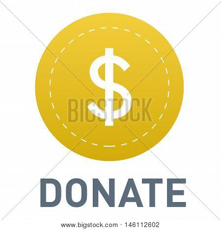 Vector donate concept hand and money button in flat style. Donation gift charity, isolated web donate button design sign contribute. Money giving symbol donate button sign stock photo