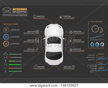 Car auto service infographics design. Vector illustration stock photo