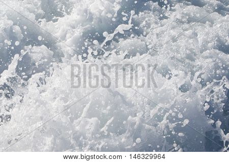 Wave of a ferry ship on the open ocean (Atlantic Ocean Iceland) stock photo