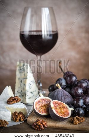 Red Wine With Cheese, Figs And Grapes-Lg Fridge Magnet Skin (size 36x65)