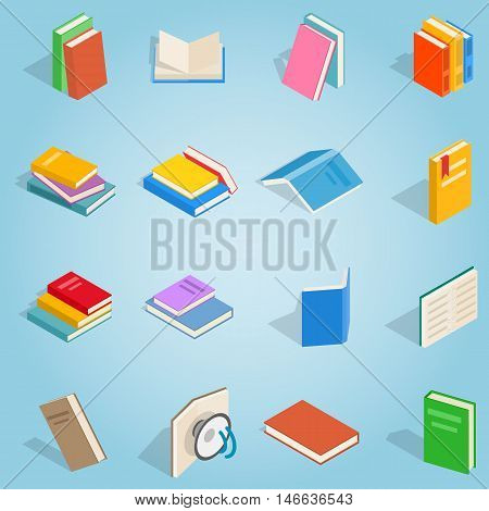 Isometric book set icons. Universal book icons to use for web and mobile UI, set of basic book elements vector illustration stock photo