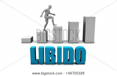 Libido 3D Concept  in Blue with Bar Chart Graph 3D Illustration Render stock photo