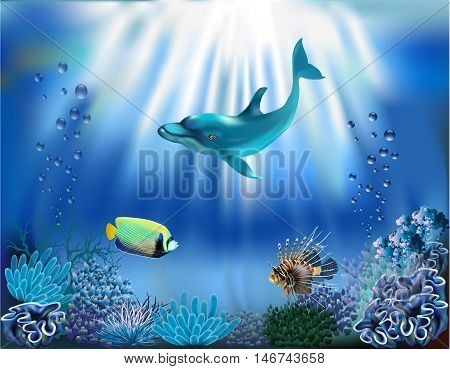 The underwater world of the ocean. Dolphin, sea fish, seaweed and corals. Vector illustration
