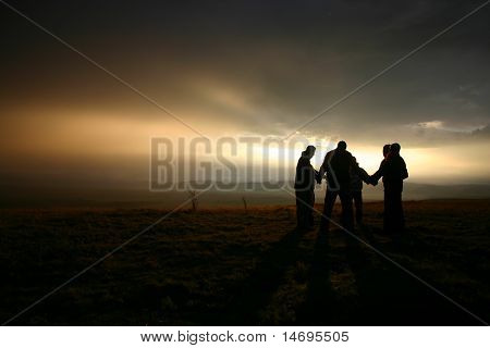 a pray in morning in clud with good backlight stock photo