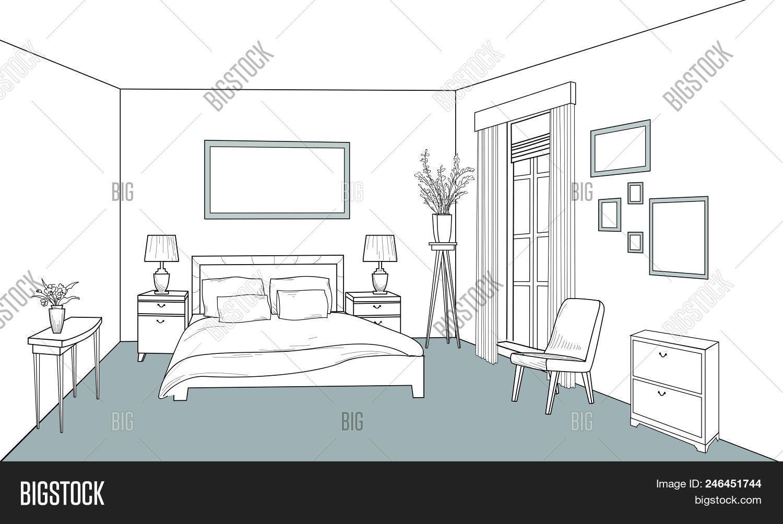🔥 Bedroom Furniture. Interior Outline Sketch. Vintage Style ...