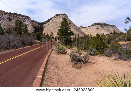 Checkerboard Mesa at Zion national park in Zion, Utah USA stock photo