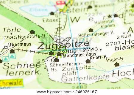 highest mountain in Germany on map, Zugspitze, Bavaria, Germany stock photo