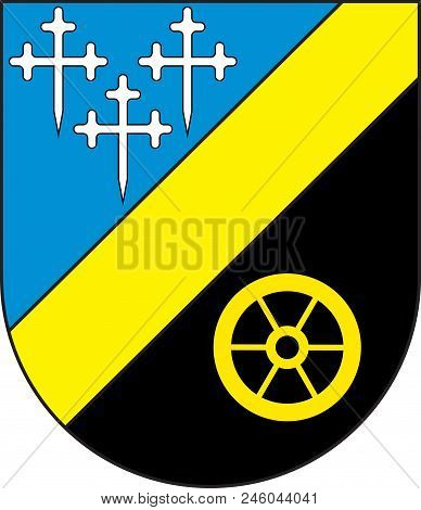 Coat of arms of Riegelsberg is a municipality in the district of Saarbruecken, in Saarland, Germany. Vector illustration stock photo