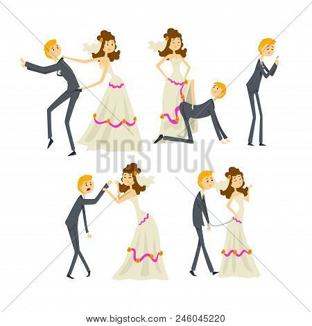 Couple of newlyweds set, henpecked man, husband dominated by wife cartoon vector Illustrations isolated on a white background. stock photo
