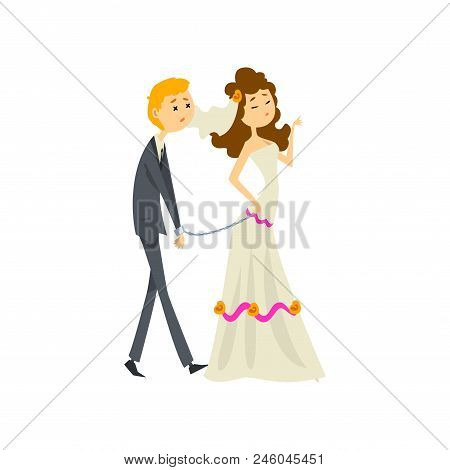 Bride leading her henpecked groom on a leash, couple of newlyweds cartoon vector Illustration isolated on a white background. stock photo