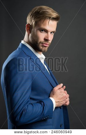 Most businesses explicit saying dress code professional attire no second guessing. Man well groomed attractive formal suit dark background. Check out my outfit. Business dress code. Guy formal outfit. stock photo