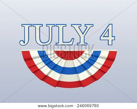 3D illustration isolated text 4 four july with blue red white flag on a white background stock photo